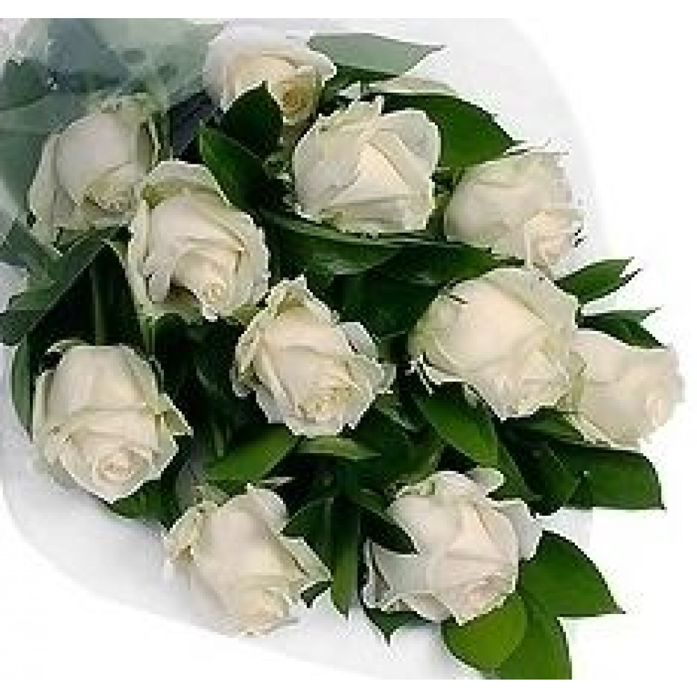 White Fresh Roses In A Beautiful Bouquet With Delivery In Ventspils