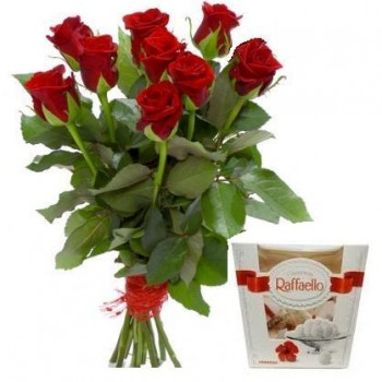 Red roses with Raffaello (select number of flowers)