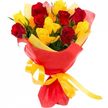 11 red and yellow roses 40 cm